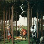 Sandro Botticelli (Alessandro di Mariano di Vanni Filipepi) (1445  1510)  Story of Nastagio degli Onesti: Further Episodes  Tempera on panel, 1482-1483  82 x 138 cm  Museo del Prado, Madrid, Spain